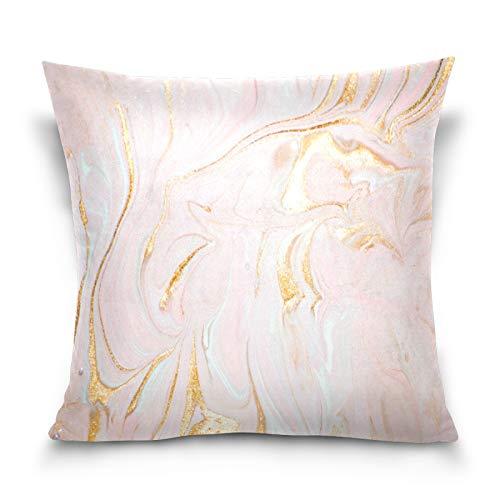 HMZXZ Funda de almohada decorativa de 40,6 x 40,6 cm con textura de mármol dorado para sofá, dormitorio, sala de estar