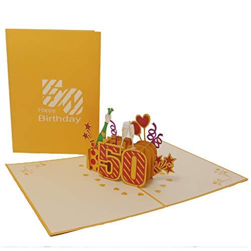 Favour Pop Up Glückwunschkarte zum runden 50. Geburtstag. (Gold, 13x18cm)