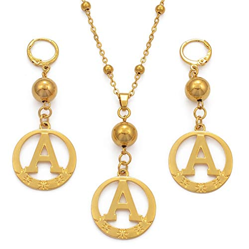 ZNQPLF Necklace Pendant Earring A To Z Gold Color Beads Alphabet Necklaces Initial For Women Girls Round English Letter Jewelry Gifts accessories (Length : 45cm Chain, Metal Color : Letter W)
