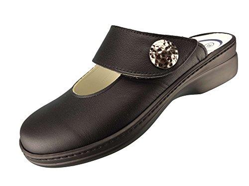 Algemare Damen Clog Nappaleder mit Sani-pur Wechselfußbett Pantolette 5948_0101 Sandalette, Größe:38 EU