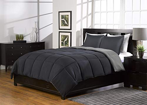 3 Pc Super Soft Grey and Black Reversible Comforter Queen Bed Set Down Alternative Queen Size Bedding Set with 2 Reversible Shams