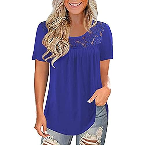 Mayntop - Maglietta estiva da donna, a maniche corte, in fibra di latte, tinta unita, a pieghe a-blu 34