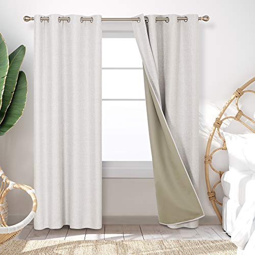 Deconovo Decorative Insulating Blackout Curtains Energy Efficient Window Curtains with Microfiber Lining for Sliding Glass Door 52x90 Inch Khaki 2 Panels