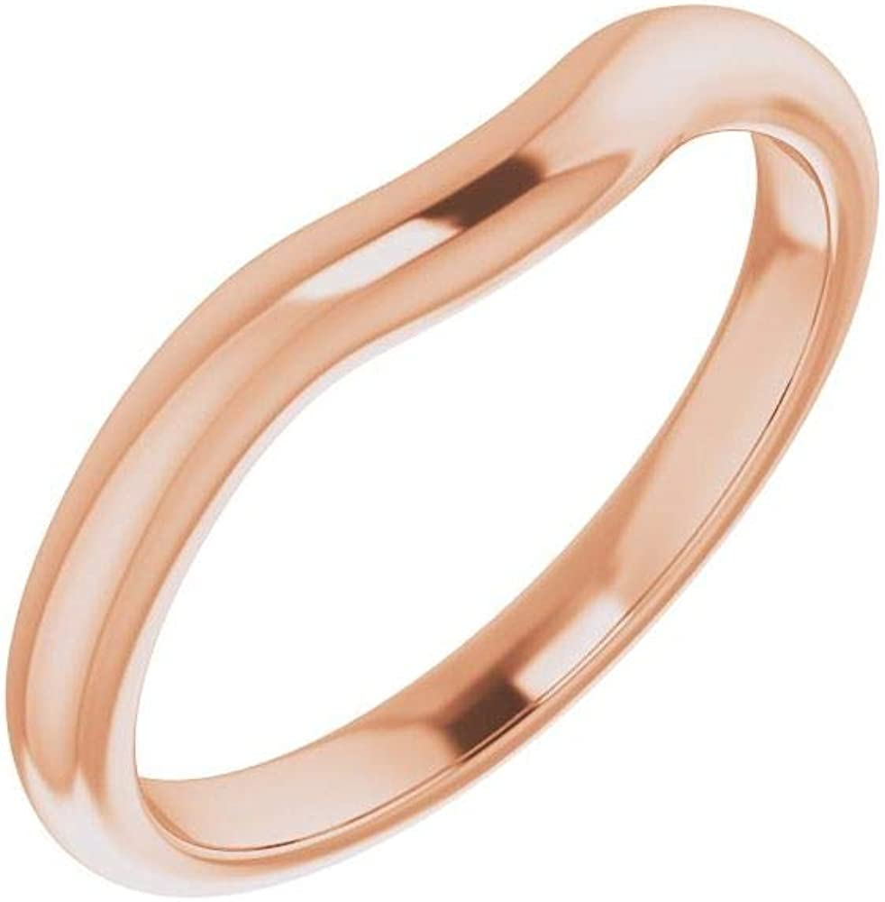 Solid 14K Rose Genuine Gold Curved Notched Wedding Heart for Large special price !! 6x6mm Band