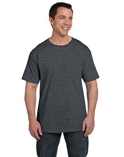 Hanes Men's Short Sleeve Beefy-T with Pocket, Charcoal Heather, X-Large