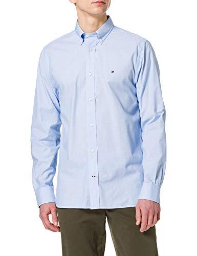 Tommy Hilfiger Natural Soft Poplin Shirt Camisa, Azul Copenhague, L para Hombre
