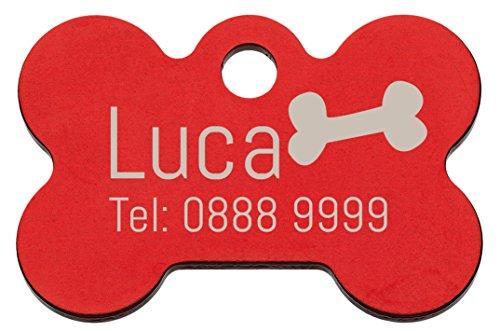 Tiermarke mit Gravur in Knochenform rot | Hundemarke mit Name, inkl. Schlüsselring, aus Aluminium | Adressanhänger für Hund und Katze