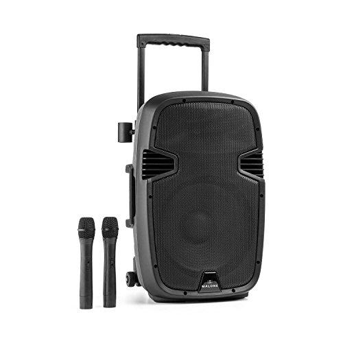 Malone Buschfunk 30 - Altavoz activo de 2 vías, Sistema PA móvil, 350 W, Subwoofer 30 cm, Tweeter 2,5 cm, Receptor VHF, Amplificador clase A/B, Bluetooth, USB/SD, AUX/Line, Batería, Negro
