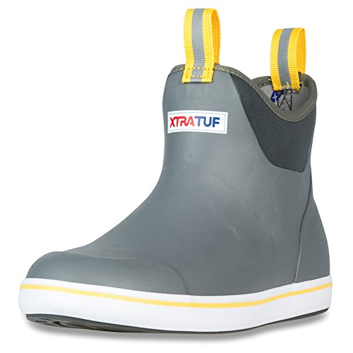 """Xtratuf Performance Series 6"""" Men's Full Rubber Ankle Deck Boots (22735),Gray/Yellow,Size 9"""