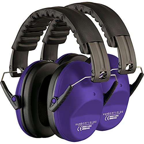 Gehörschutz für Erwachsene - Leicht Faltbar und Komfortable Gehörschutz - Kapselgehörschutz mit Hochwertige Geräuschblockierung - Lärmschutz Kopfhörer für Man und Frau – Lila [2-Pack]