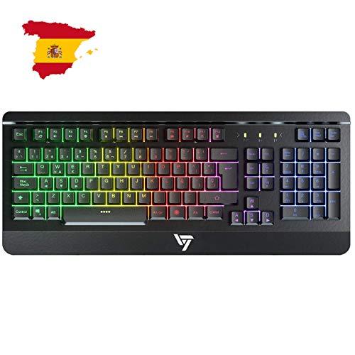 VicTsing Teclado Gaming Español USB, LED Rainbow Retroiluminación con 12...