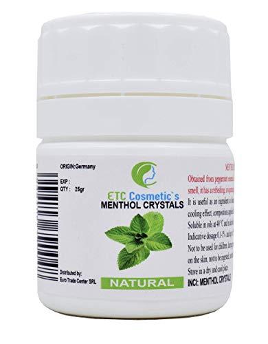 Cristalli di mentolo - 25/50 gr - effetto rinfrescante e rinfrescante, utilizzare come ingrediente...
