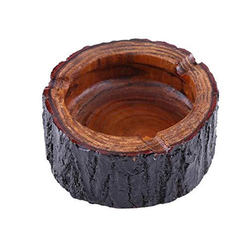 MINGZE Posacenere in legno per uomo e donna, all'aperto vassoio di cenere, posacenere di sigaretta fatto a mano speciale, rotondo, posacenere di tabacco di legno decorativo (L)
