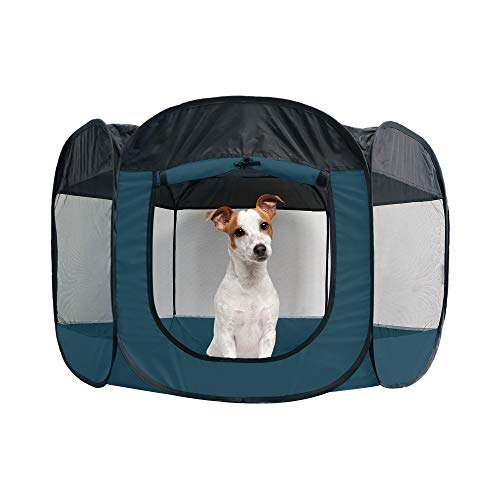 Furhaven Pet Playpen - Indoor-Outdoor Mesh Open-Air Playpen and Exercise Pen Tent House Playground for Dogs and Cats, Sailor Blue, Large