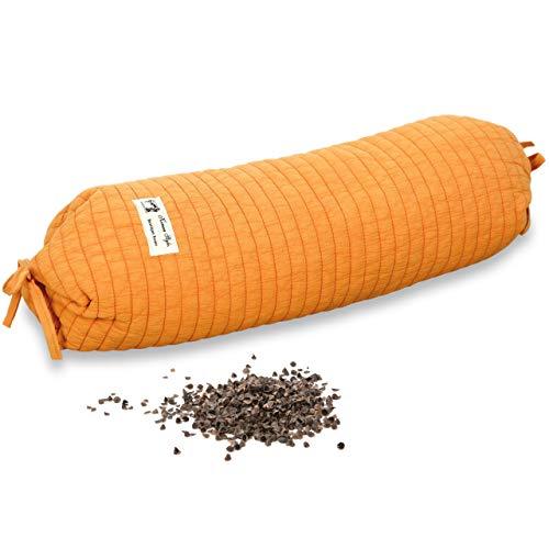 Vitabo Buchweizenkissen Nackenrolle | Kopfkissen für Nacken und Wirbelsäule | Natürliches Nackenkissen mit ergonomischer Form 13 x 45 cm (Orange)