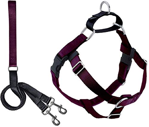 """2 Hounds Design Freedom No Pull Dog Harness   Adjustable Gentle Comfortable Control for Easy Dog Walking  for Small Medium and Large Dogs   Made in USA   Leash Included   1"""" MD Burgundy"""