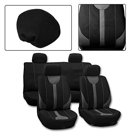 ROADFAR Seat Cover Universal Car Seat Cushion w/Headrest - 100% Breathable Washable Automotive Seat Covers Replacement fit for Most Cars(Black/Gray)