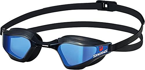 SWANS(スワンズ) 日本製 スイミングゴーグル VALKYRIE ヴァルキリー SR-72MMITPAF BLBK スモーク×MITフラッシュブルーミラー レーシング クッション付 Fina認証済み はがれないMITミラーレンズ
