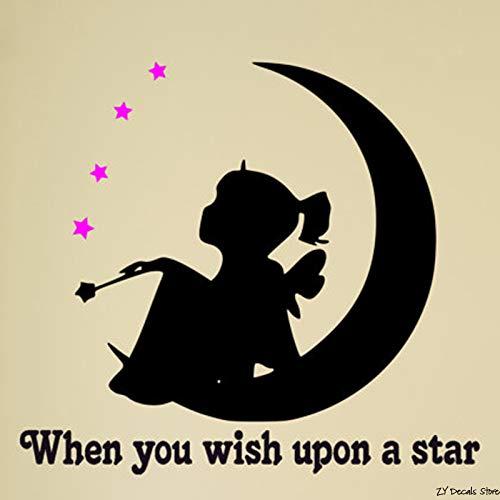 yiyiyaya Zitat Wandtattoo Engel Fee Mädchen Sterne und Mond Mädchen Raumdekor Wand Worte Kinderzimmer Raum Baby Raumdekor 42 * 46cm
