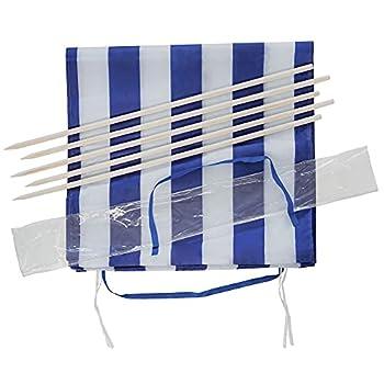 Idena Protection Contre Le Vent : Environ 600 x 80 cm-Bleu et Blanc Transport et Sangles de Fixation-pour la Plage, Le Camping et Le Jardin Mixte-Adulte