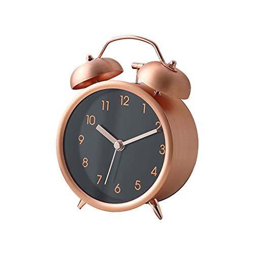 XXSW Metal Twin Bell Alarm Reloj de Alarma,Perfecto for durmientes Pesados,Súper silencioso Nonticking Small Reloj,Alarma analógica de Campana Fuerte,Operado por batería (Color : D)