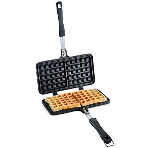 VonShef Stove Top Waffle Iron - Die-Cast Aluminium Dual Waffle Maker with Non-Stick Interior Coating for Easy Cleaning, Bakelite Handle & Closing Latch - For Savoury & Sweet Homemade Waffles