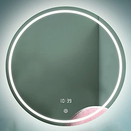 HHDD Espejo de Baño LED, Espejo Decorativo Sin Marco Montado en la Pared, Espejo Plateado a Prueba de Explosiones de Alta Definición Regulable con Desempañado