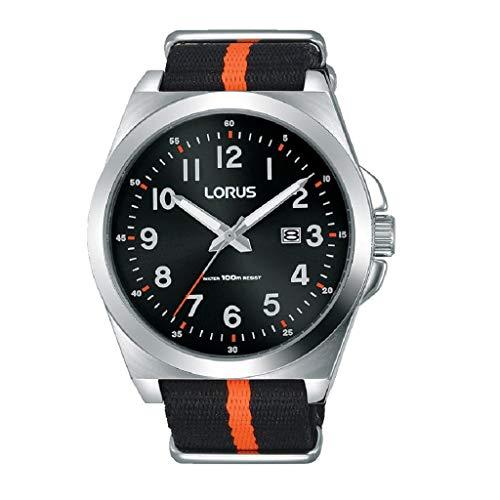 Lorus RH941KX9 - Reloj para Hombre (Acero Inoxidable, Correa de Nailon), Color Negro y Naranja