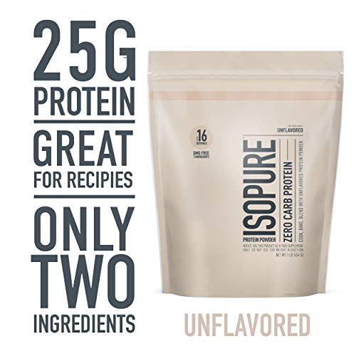 Isopure Zero Carb, Keto Friendly Protein Powder, 100% Whey Protein Isolate, Unflavored, 1 Pound (Packaging May Vary)