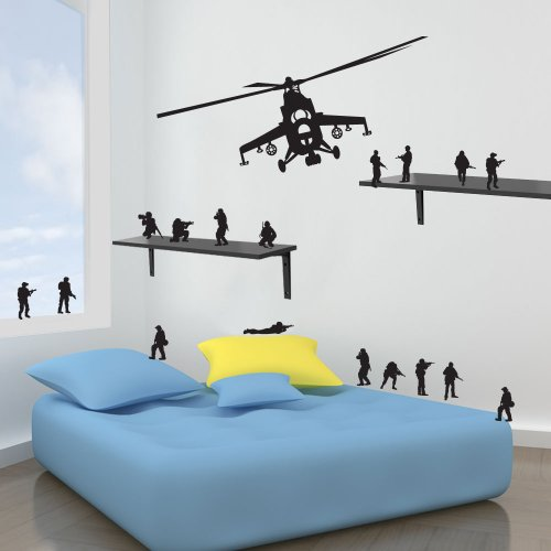 Vinyl Concept - New Army Helicopter Kids Wall Stickers Decals Diy Wall Art Sticker 17 Free Men Removable, Easy To Remove, Children'S Wall Stickers, Art Mural, Art Decor, Sticker Diy Deco : Black -- Medium by Vinyl Concept