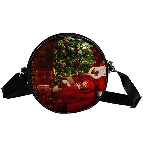 Bennigiry Weihnachtsmann Kamin und Weihnachtsbaum mit Geschenken Damen Umhängetasche Umhängetasche Top Handtasche