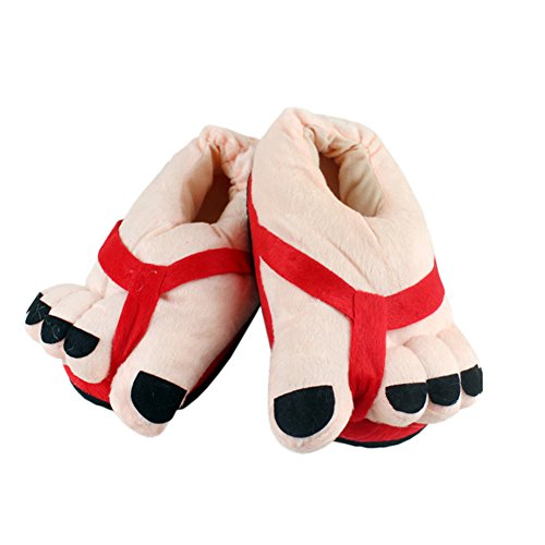 CHIC-Chaussons Adulte Hiver Mignon Peluche Velours 25.5cm Déguisement Carnaval (Rouge)