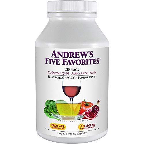 Andrew Lessman Andrew's Five Favorites 30 Capsules – Provides 200mg Each of Coenzyme Q-10, Resveratrol, EGCG, Pomegranate and Alpha Lipoic Acid, Powerful Anti-Oxidant Support, No Additives