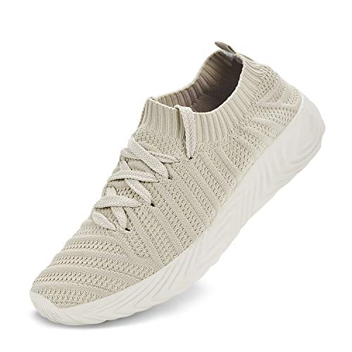 Feetmat Womens Non Slip Running Shoes Slip On Walking Tennis Ultra Lightweight Air Knitted Breathable Mesh Sneaker Fashion Athletic Gym Sports Casual Shoes Light Brown 7.5 M US