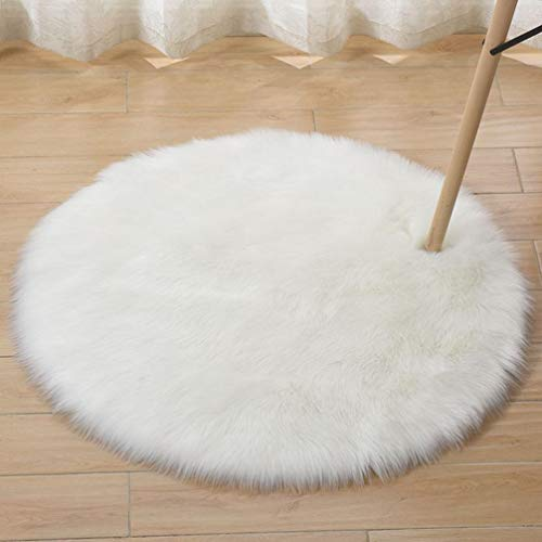 HEBE Faux Fur Rug White Round Area Rugs 3 Ft Circle Shag Rug Indoor Ultra Soft Fluffy Bedroom Floor Sofa Living Room 3 x 3 Feet