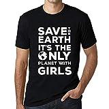 Cityone Uomo Maglietta Tee Vintage T Shirt Save The Earth Girls Profondo Nero Testo Bianco