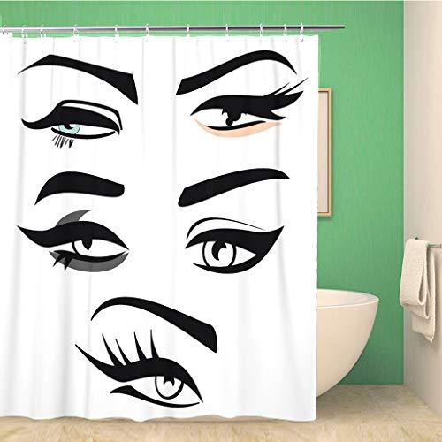 Awowee Decor douchegordijn Eyeliner van 4 Woman Eye Shape Silhouettes Wenkbrauwen Lange 180x180cm Polyester Stof Waterdichte Bad Gordijnen Set met haken voor de badkamer