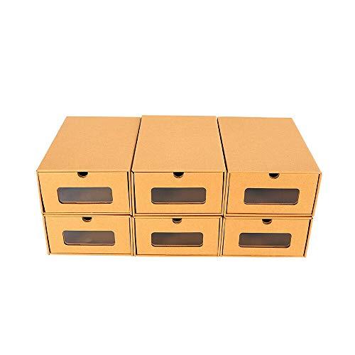 10/20 cajas de zapatos apilables para zapatos, cajón, caja multiusos de cartón zapatero, ahorro de espacio, de papel de estraza (10 unidades)