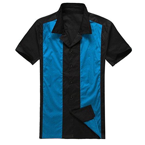 Chemises de bowling à manches courtes Rockabilly vintage style années 50 - Noir/bleu - bleu - Large