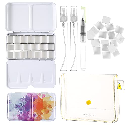 FABUNESS 45 Pieces Watercolor Paint Palette and Half Pans Set, Watercolor Tin Palette Metal Palette Paint Case with lid, Empty Watercolor Tin Box with Brush, Spray Bottle, Plastic Container (Colorful)