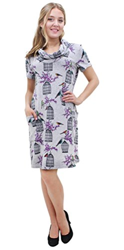 Purplish Strickkleid Birdcage Dress 7072 (Small, Grey)