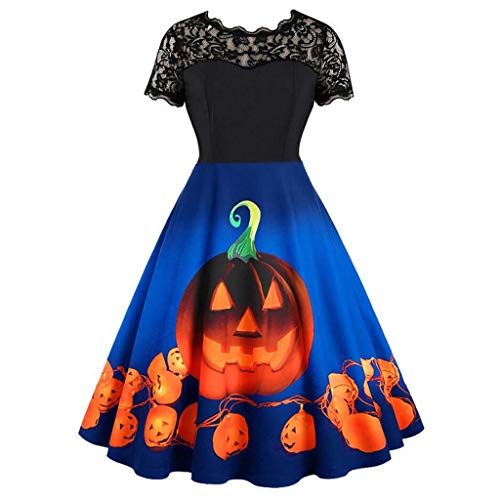 Dames Pumpkin Print Halloween Vintage Swing Jurk, Dames Korte Mouw Kant O-hals Vintage Rockabilly Party Jurk S=6 UK Blauw