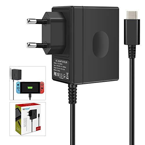 Chargeur pour Switch, Adaptateur Secteur pour Switch 1,5M USB Type-C 15V/2,6A Support Le Mode TV