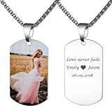 Fanery Sue Personalized Photo Necklace Custom Picture Military Dog Tag Customize Text Engrave Name Necklace(Full Color Picture-Silver Dog tag)