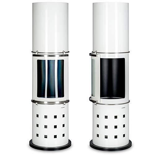 LILIMO Bodenkamin Grado   39 x 39 x 151 cm   Runder, freistehender Bio-Ethanol Kamin   in weiß