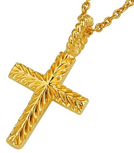 pe2181-45a5 [ブランド名:2PIECES] シルバー ネックレス クロス 十字架 24金コート ステンレスチェーン付 45+5cm