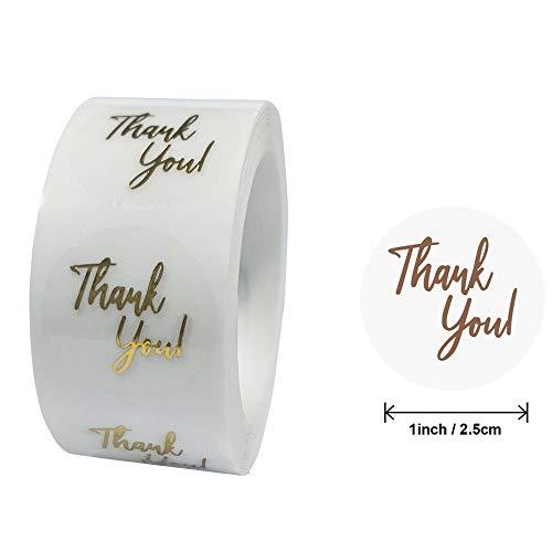PMSMT 50 Etiquetas 1 Pulgada de lámina de Oro Transparente Pegatinas de Agradecimiento paraBodas Bonitas Tarjetas de Regalo Etiquetas Adhesivas de Sellado de Sobres
