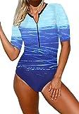 Ocean Plus Donna Costume da Bagno Anteriore con Zip Girocollo Monopezzo a Maniche Corte Costumi da Bagno a Vita Alta Beach Surf Beachwear (XL (EU 40-42), Gradiente Blu)