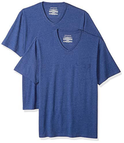 Amazon Essentials Herren T-Shirt, lockere Passform, V-Ausschnitt, Brusttasche, 2er-Pack, Blau (Navy Heather Nav), US M (EU M)