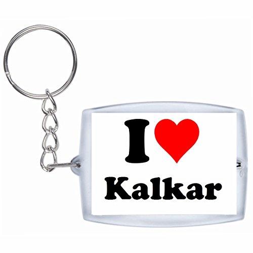 Druckerlebnis24 Schlüsselanhänger I Love Kalkar in Weiss - Exclusiver Geschenktipp zu Weihnachten Jahrestag Geburtstag Lieblingsmensch